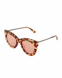 Bottega Veneta Tortoise Plastic Cat Eye Sunglasses Brown
