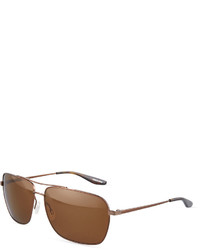 Barton Perreira Valiant Polarized Rectangle Metal Aviator Sunglasses Java