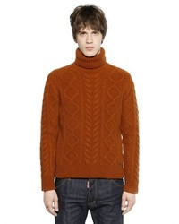 DSQUARED2 Wool Blend Cable Knit Turtleneck Sweater
