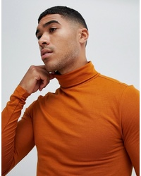 ASOS DESIGN Muscle Fit Long Sleeve T Shirt With Roll Neck In Brown