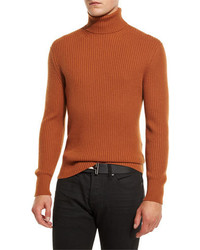 Tom Ford Ribbed Turtleneck Sweater Brown