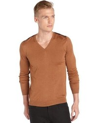 Tobacco V-neck Sweater