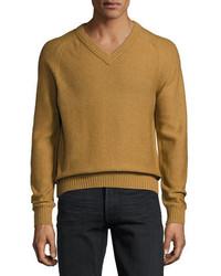 Raglan cotton cashmere blend v neck sweater tobacco medium 4016128