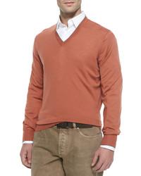Wool blend v neck pullover cayenne medium 328414