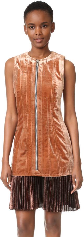 3.1 Phillip Lim Sculpted Velvet Dress With Pleated Hem