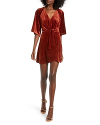 All in Favor Wrap Style Rib Velvet Minidress
