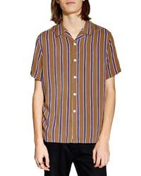 Tobacco Vertical Striped Short Sleeve Shirt