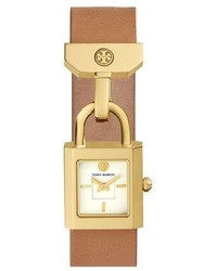Tory Burch Surrey Padlock Multilink Bracelet Watch Light Browngolden