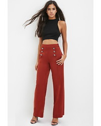 Forever 21 Sailor Buttoned Wide Leg Trousers