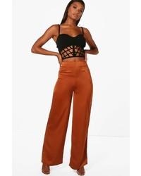 Tan woven matte satin wide leg trousers medium 5422517