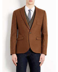 Topman Toffee Flannel Skinny Blazer