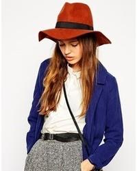 Asos felt fedora hat with wide band tobacco medium 92216
