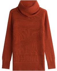 Diane von Furstenberg Wool Cashmere Patterned Rib Turtleneck Pullover