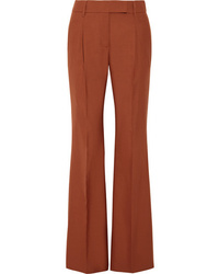 Prada Pleated Wool Blend Hopsack Wide Leg Pants