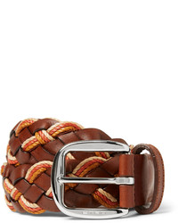 Etro 35cm Leather And Elasticated Woven Belt