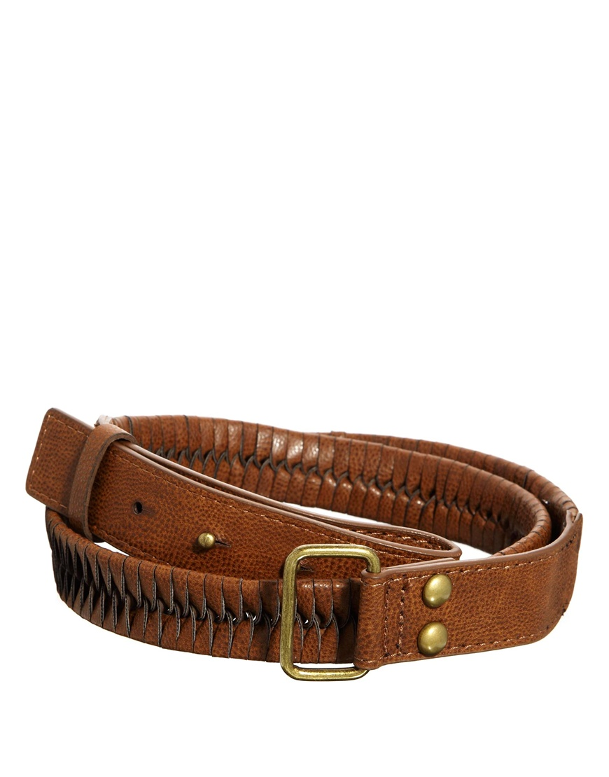 tobacco woven leather belt asos leather belt with plait