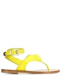 Tongs en cuir jaunes Versace