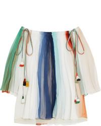 Top à épaules dénudées à rayures verticales blanc Chloé
