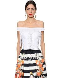 Top con hombros descubiertos blanco de Dolce & Gabbana