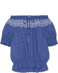 Top con hombros descubiertos bordado azul de Tory Burch