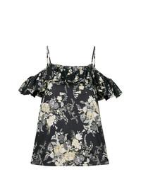 Top con hombros descubiertos con print de flores negro de Twin-Set