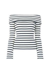 Top con hombros descubiertos de rayas horizontales en blanco y azul marino de P.A.R.O.S.H.
