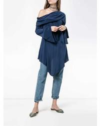 Top con hombros descubiertos de seda azul marino de Sies Marjan