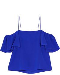 Top con hombros descubiertos de seda azul de Fendi