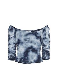 Top con hombros descubiertos efecto teñido anudado azul marino de Miaou