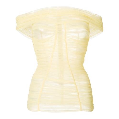 Top con hombros descubiertos plisado amarillo de Dolce & Gabbana