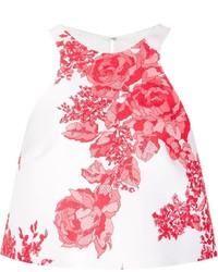 Top corto con print de flores en blanco y rojo