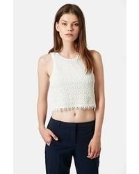 Top corto de crochet blanco de Topshop
