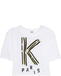 Top corto estampado en blanco y negro de Kenzo