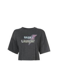 Top corto estampado en gris oscuro de Saint Laurent