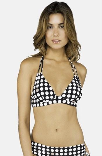 Top de bikini a lunares en negro y blanco de DKNY