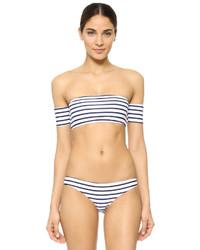 Top de bikini à rayures horizontales bleu Rachel Pally