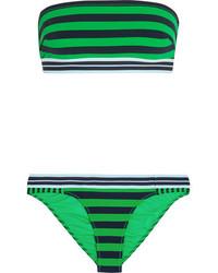 Top de bikini à rayures horizontales vert Stella McCartney