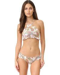 Top de bikini à volants brun clair Pilyq