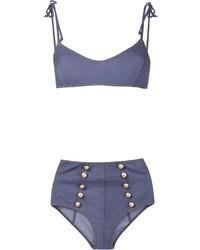 Top de bikini bleu Lisa Marie Fernandez
