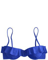 Top de bikini con volante azul de J.Crew