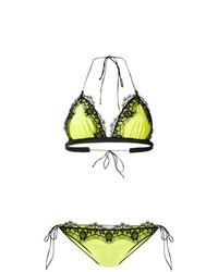 Top de bikini de encaje en amarillo verdoso de Oseree