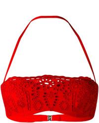 Top de bikini de encaje rojo de Ermanno Scervino