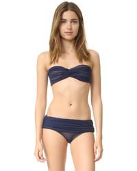 Top de bikini de malla azul de Norma Kamali