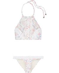 Top de bikini en crochet à fleurs blanc Zimmermann