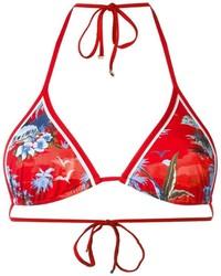 Top de bikini estampado rojo