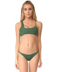 Top de bikini vert foncé Mikoh