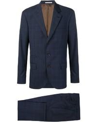 Traje de lana a cuadros azul marino de Brunello Cucinelli