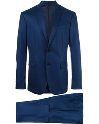 Traje de lana azul marino de Versace