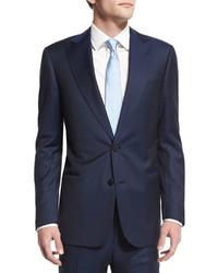 Traje de lana de rayas verticales azul marino de Armani Collezioni
