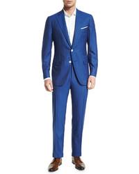Traje de lana de rayas verticales azul